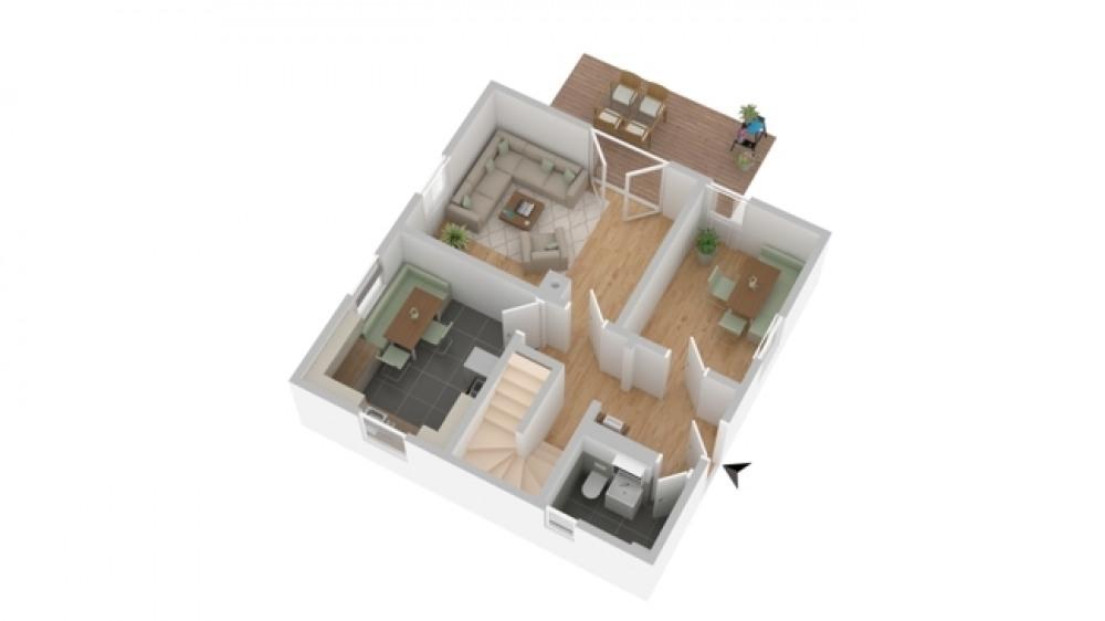 3-D Skizze Erdgeschoss