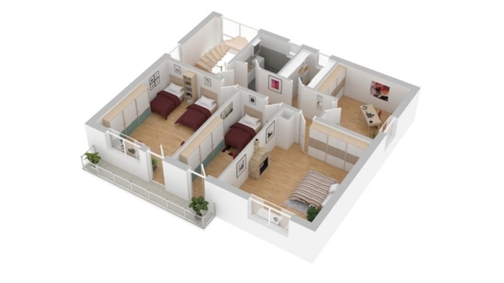 3-D Skizze Obergeschoss