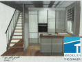 Treppe geht ins Souterrain, Glaswand zum Treppenabgang