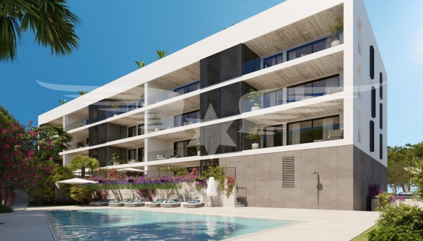 Visualised exterior view with pool