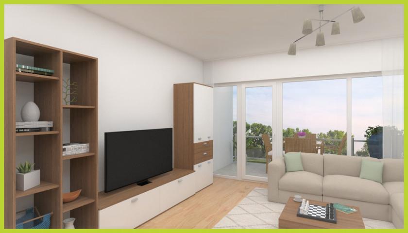 Blick zum Panoramafenster (virtuell eingerichtet)