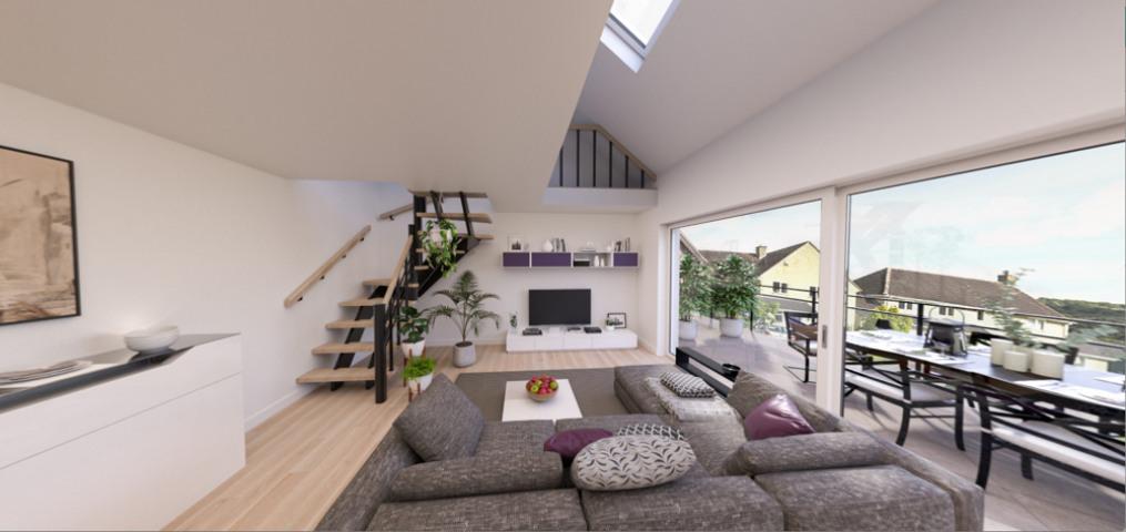 Visualisierung Wohnung 9 mit Treppe