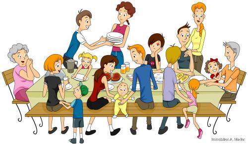 Familie bei Tisch