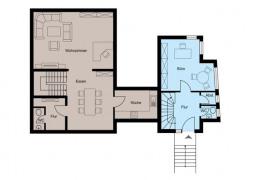 Grundriss Erdgeschoss -blauer Teil