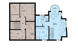 Grundriss Obergeschoss -blauer Teil