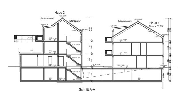 Schnitt A-A Haus 1 & Haus 2