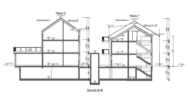 Schnitt B-B Haus 1 & Haus 2