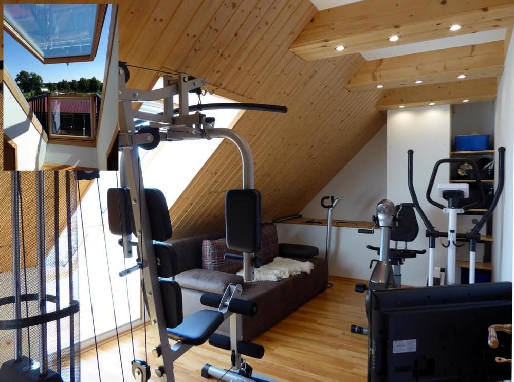 (11) Fitnessraum mit Klappbalkon im Dachgeschoss