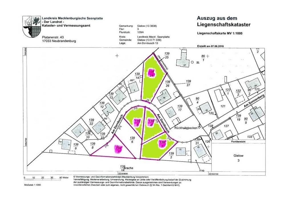 7 Flurkarte neu mit Grundstücksmarkierungen