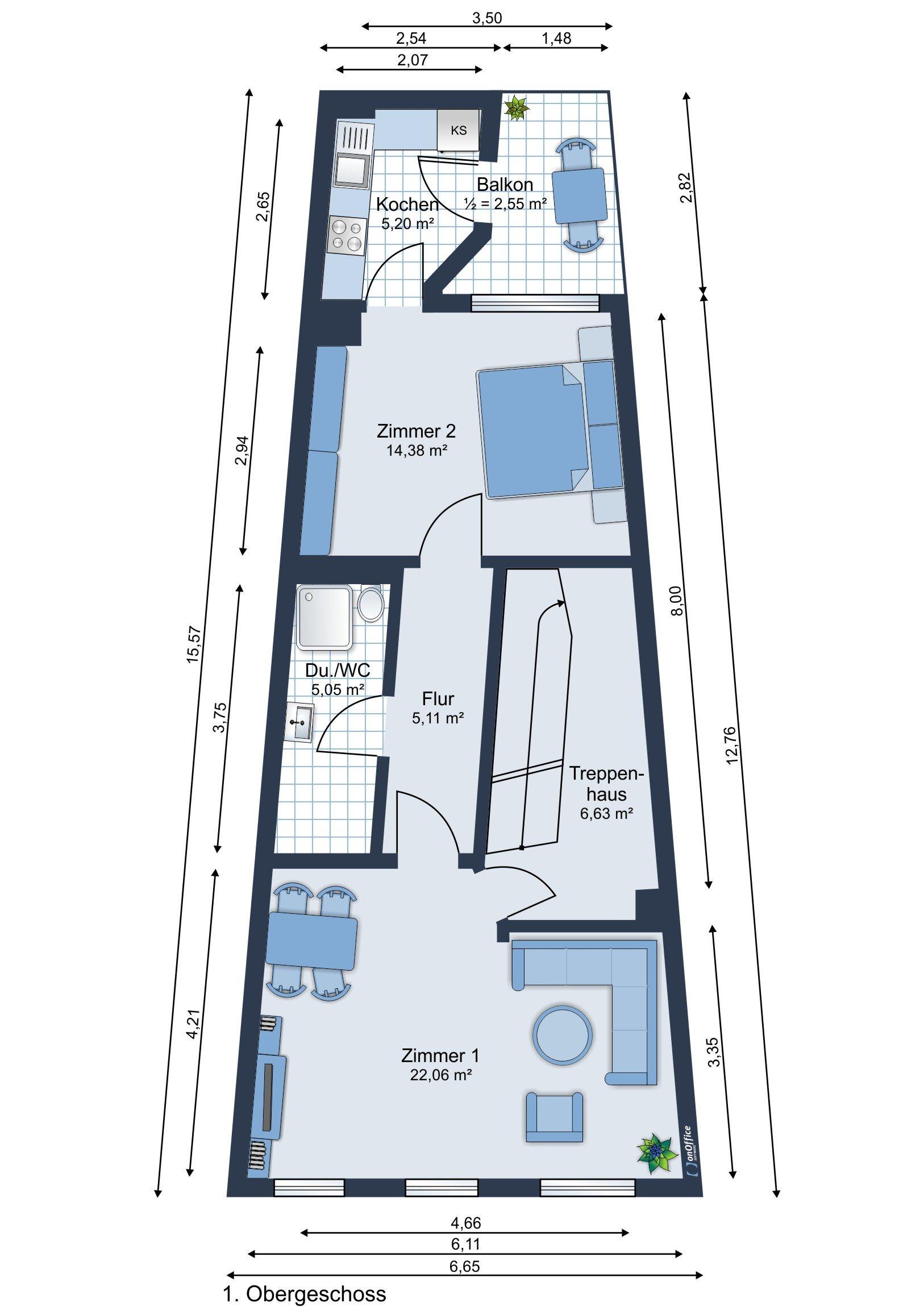 Möbliervorschlag 1. Obergeschoss