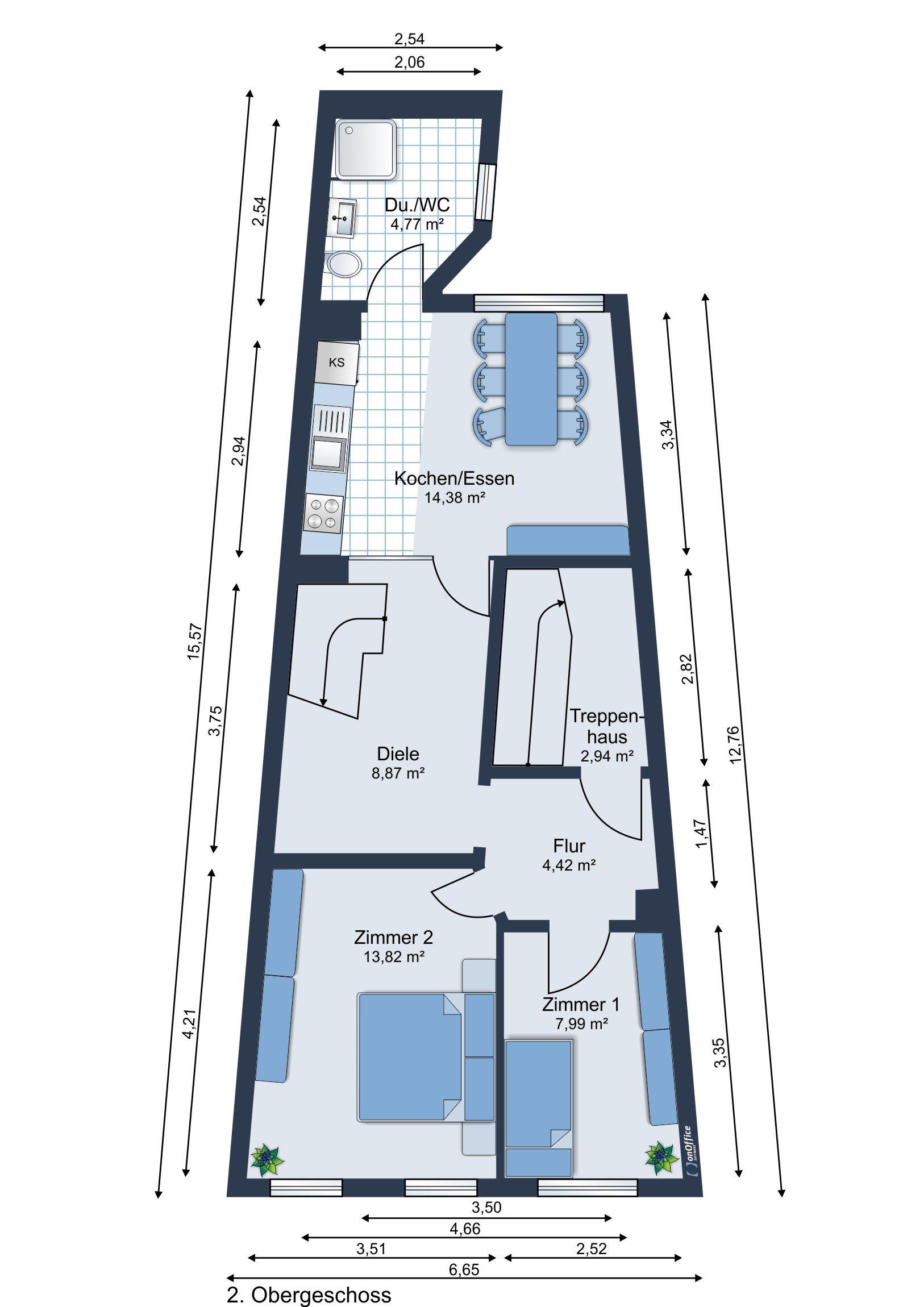 Möbliervorschlag 2. Obergeschoss