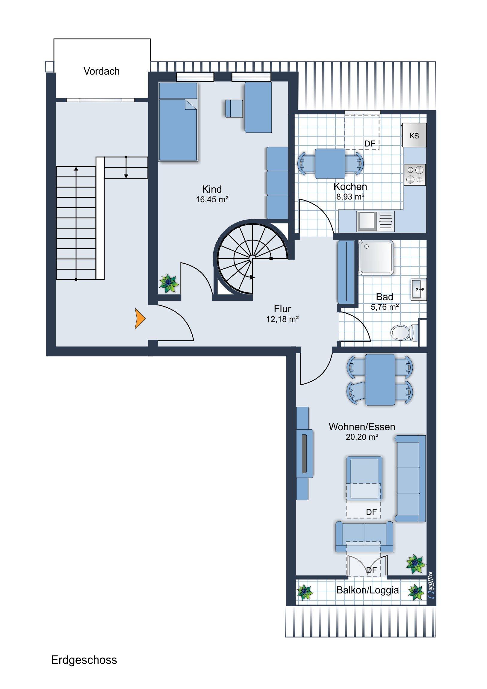 Möbliervorschlag 1. Ebene