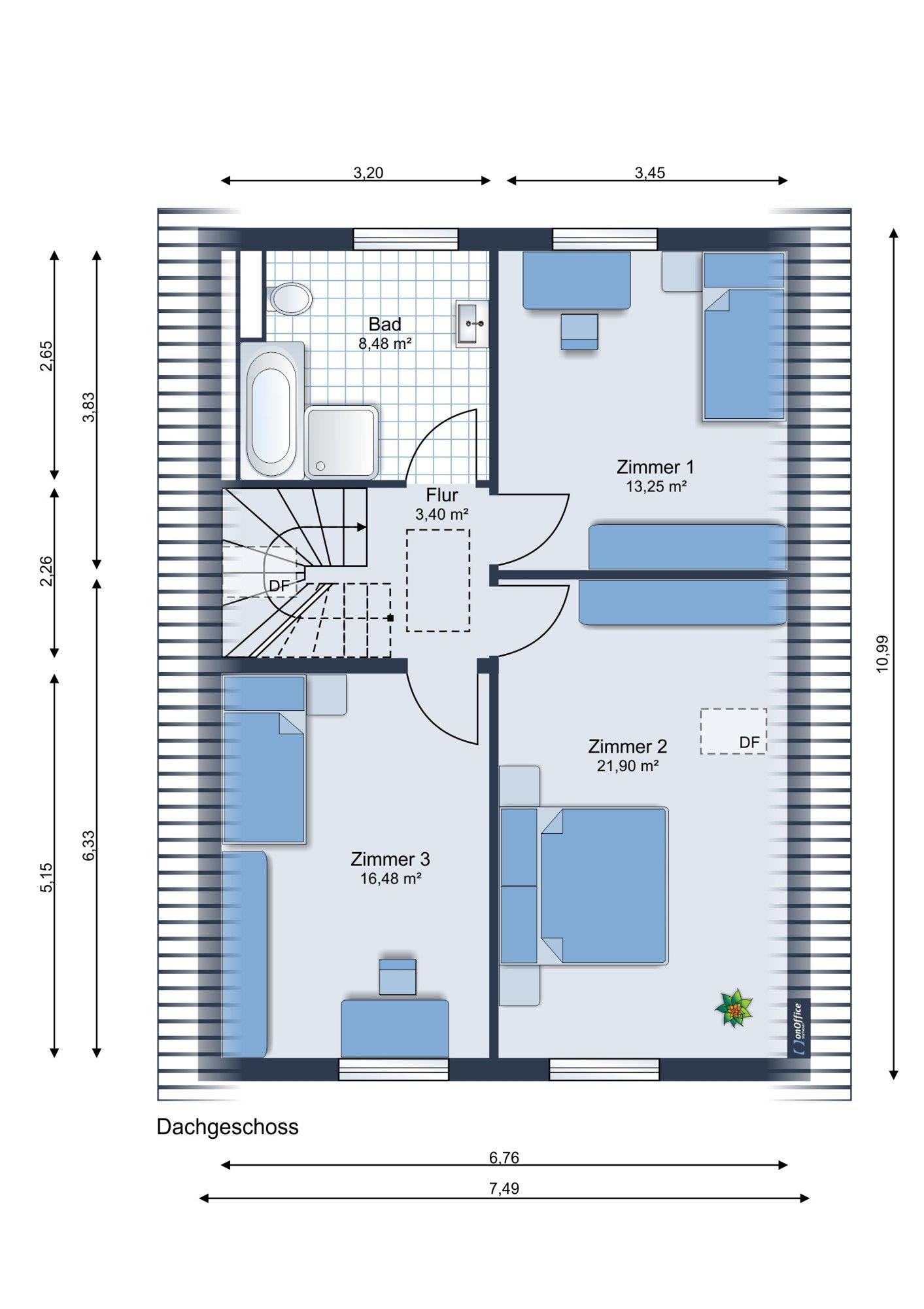 Möbliervorschlag Dachgeschoss
