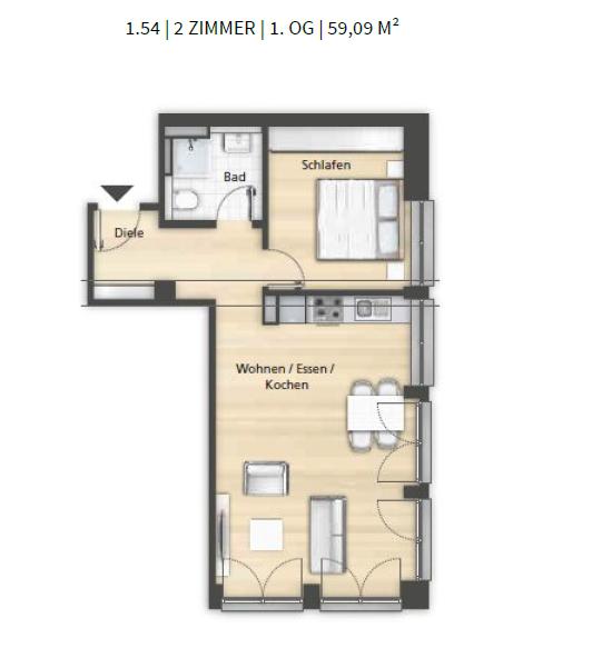 Grundriss 1.54 2-Zimmer 1. OG