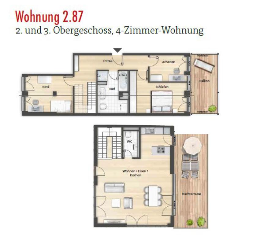 Grundriss 2.87 4-Zimmer-Penthouse 2.-3. OG