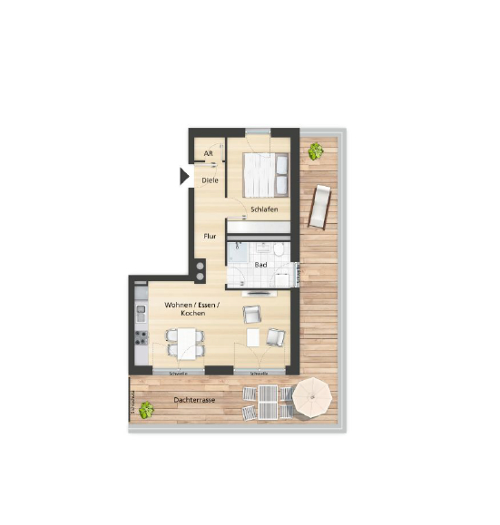 Grundriss Wohnung Haus B, WE 3.03
