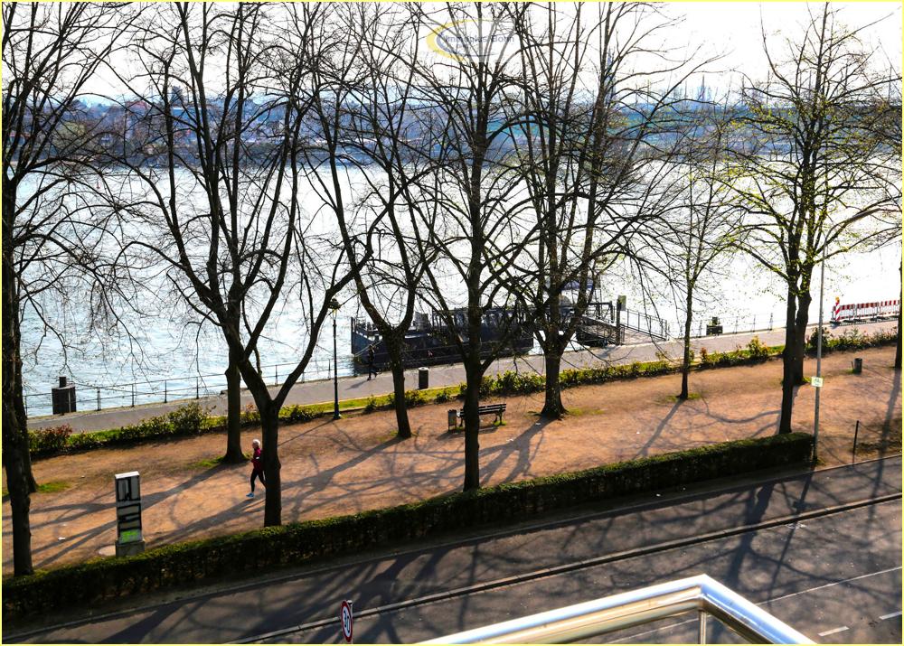 Balkon zur Rheinseite im Frühjahr