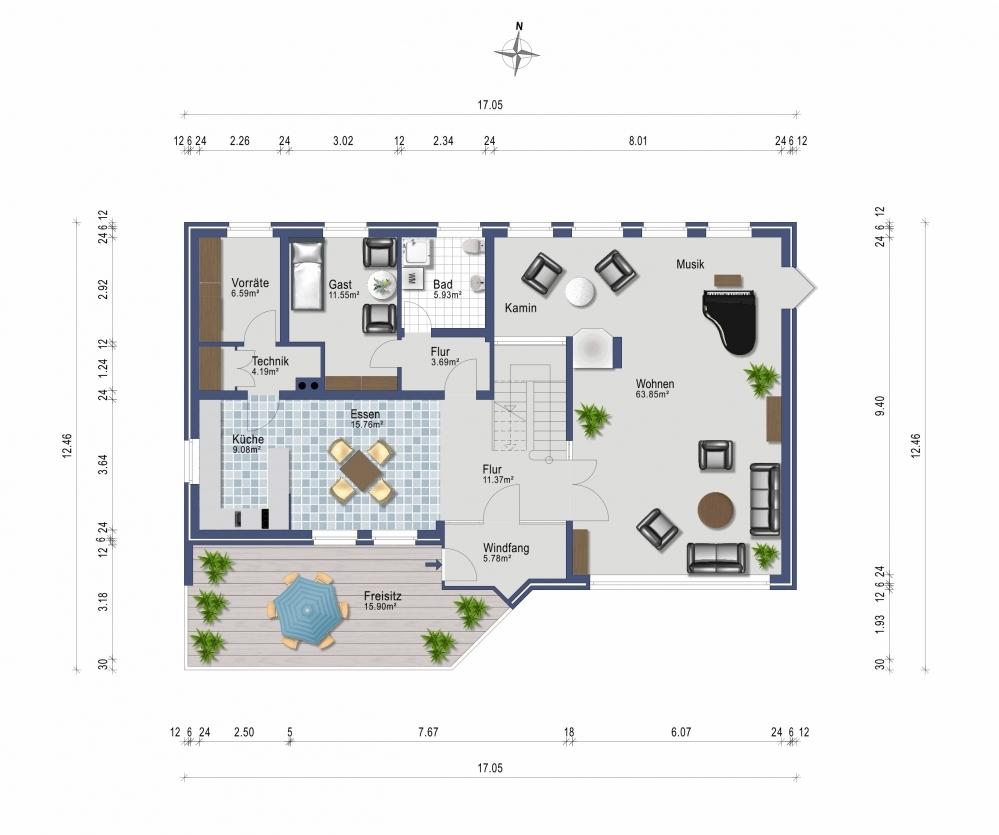 Erdgeschoss Wohnhaus