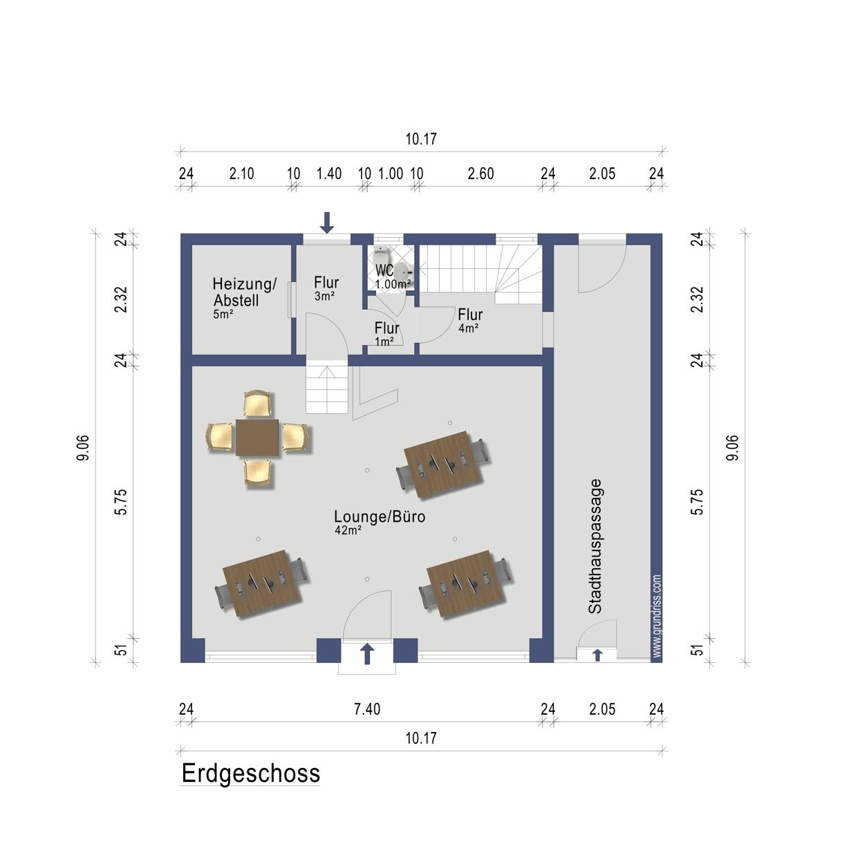 Lounge/Büro Erdgeschoss