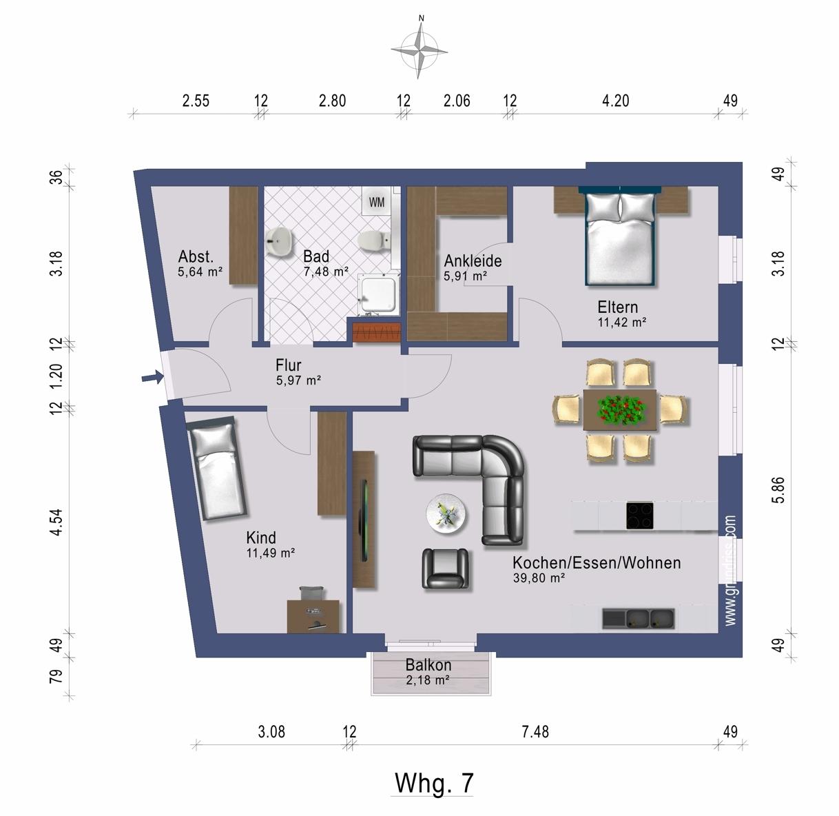 Grundriss Wohnung 7 im 3. OG rechts