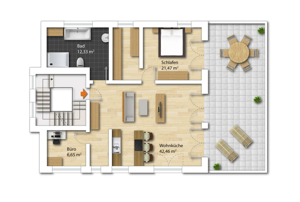 Grundriss 2 OG -Penthouse möbliert