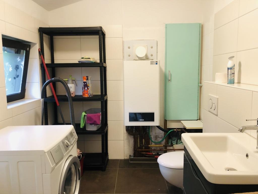 Haushaltsraum mit Toilette und Waschtisch