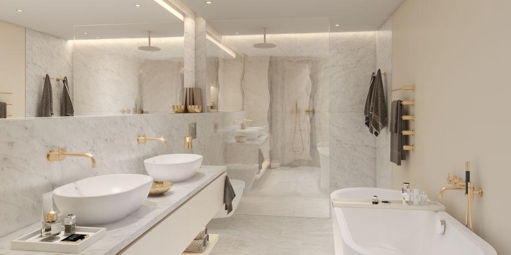 Twin House First floor bathroom carrara