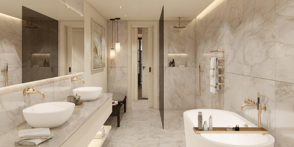 Twin House Second floor bathroom calacatta