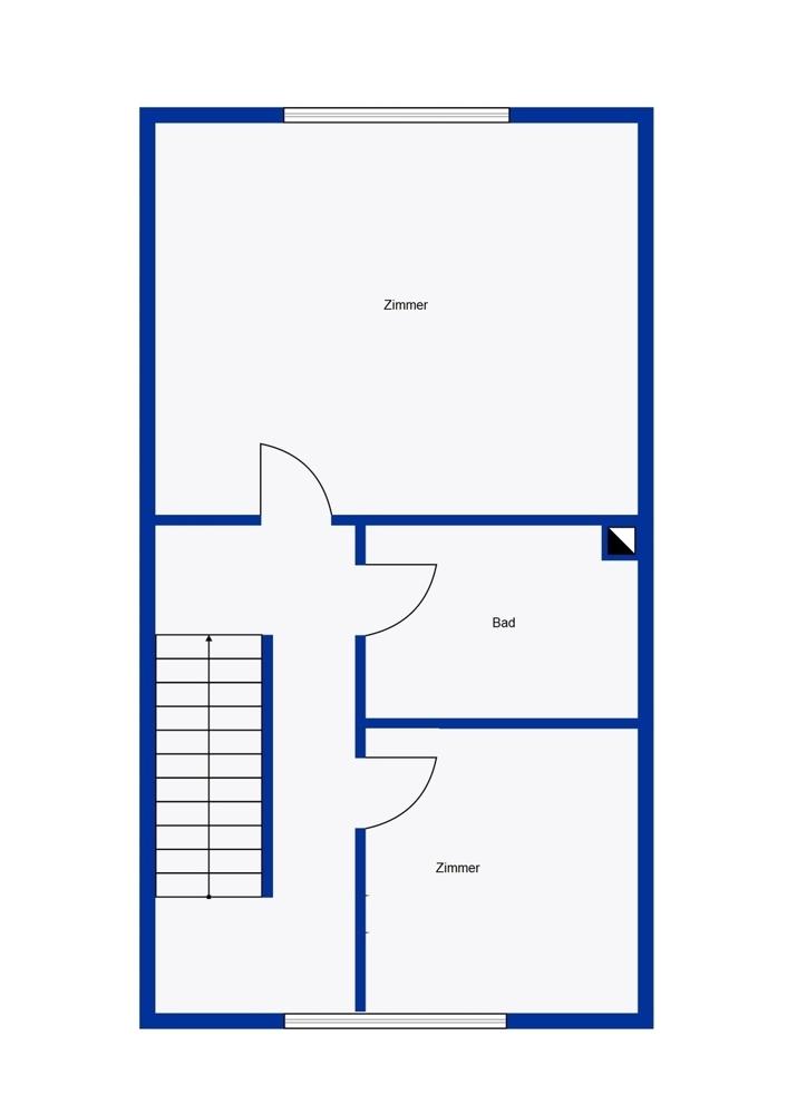 Obergeschoss mit zwei Zimmern und Bad