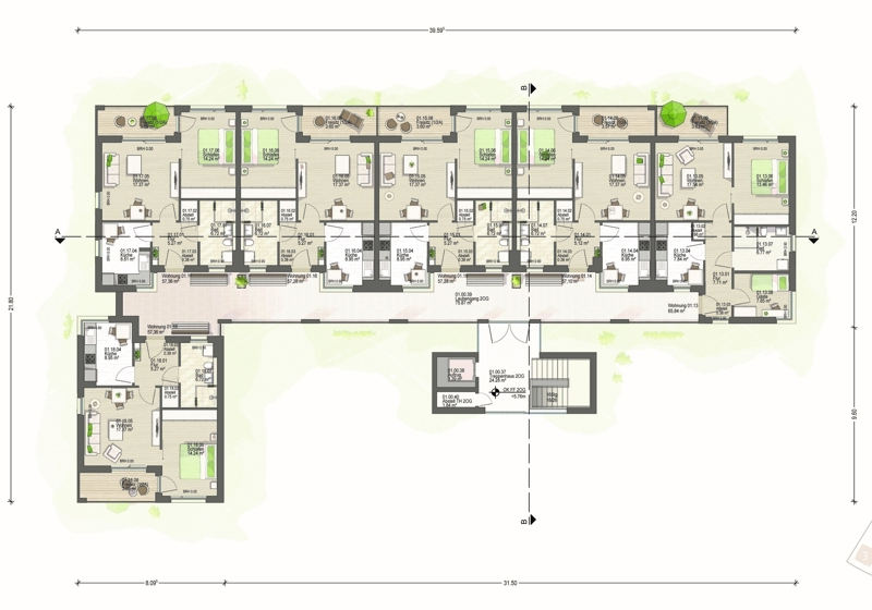 2. Obergeschoss Haus 1 (A)