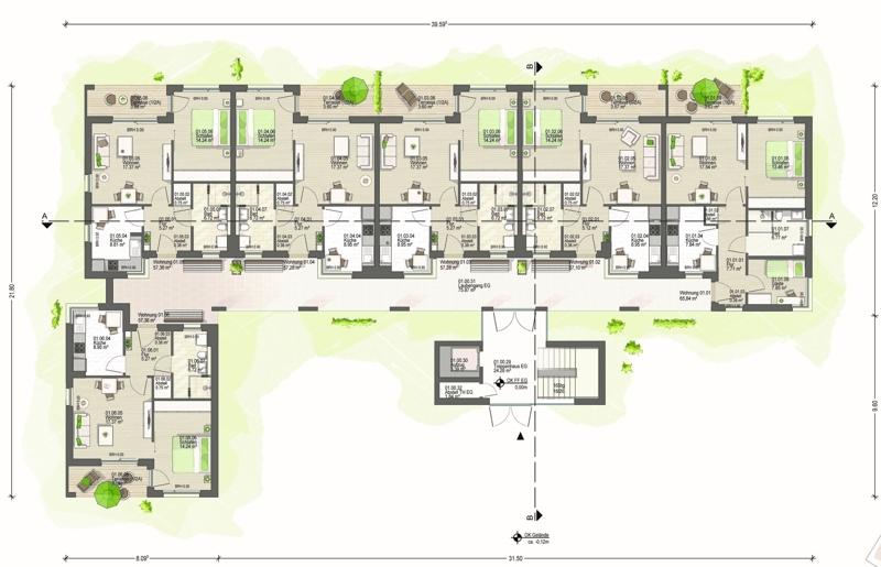 Erdgeschoss Haus 1 (A)