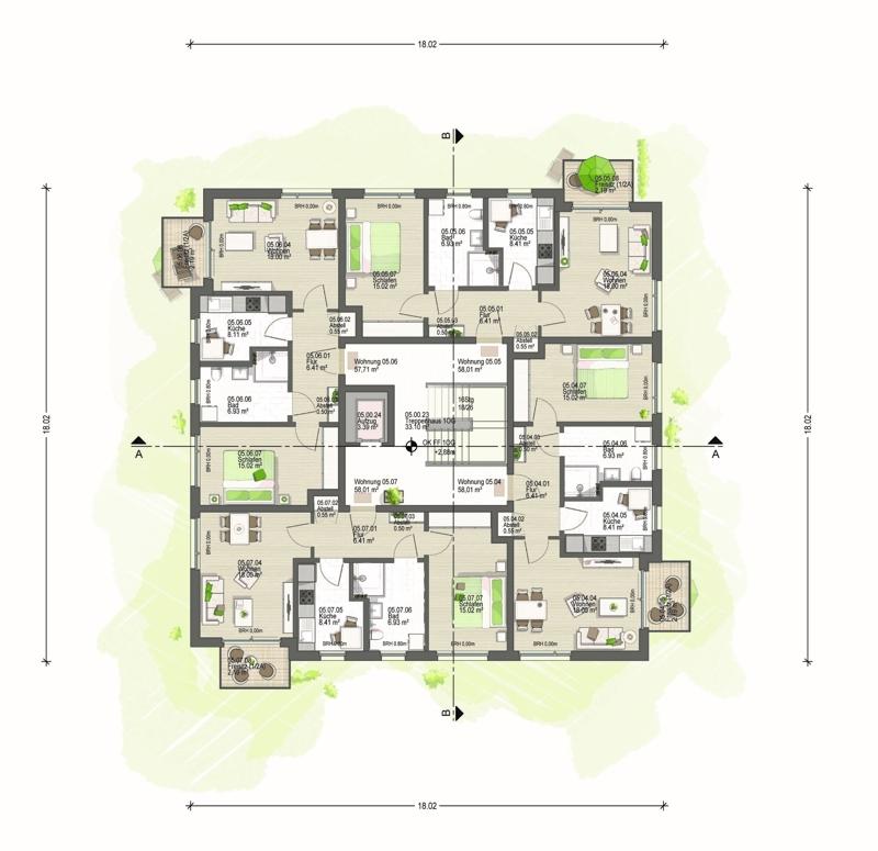 1. Obergeschoss Haus 5 (E)