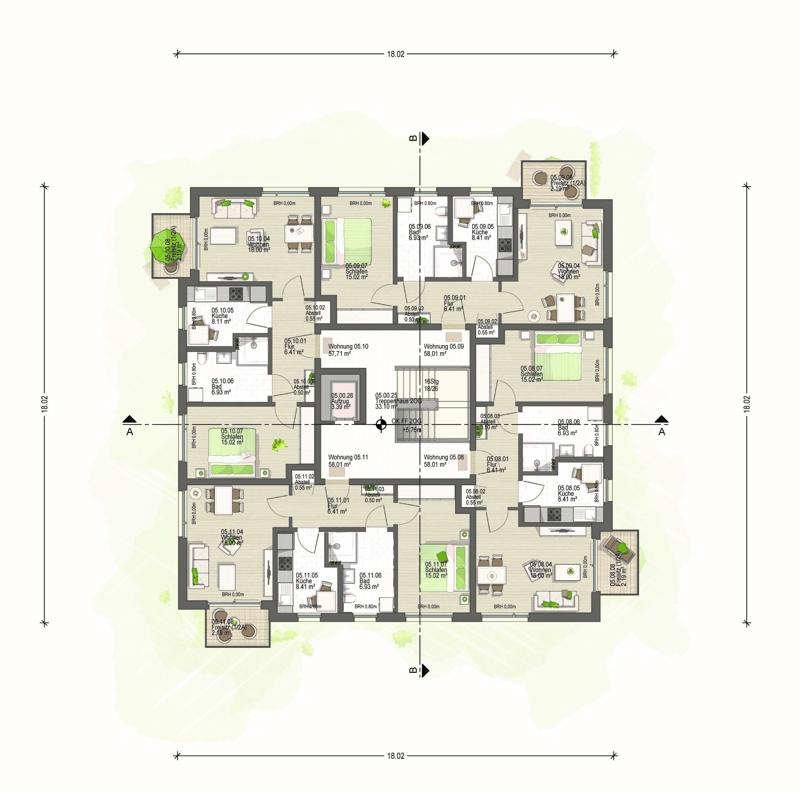 2. Obergeschoss Haus 5 (E)