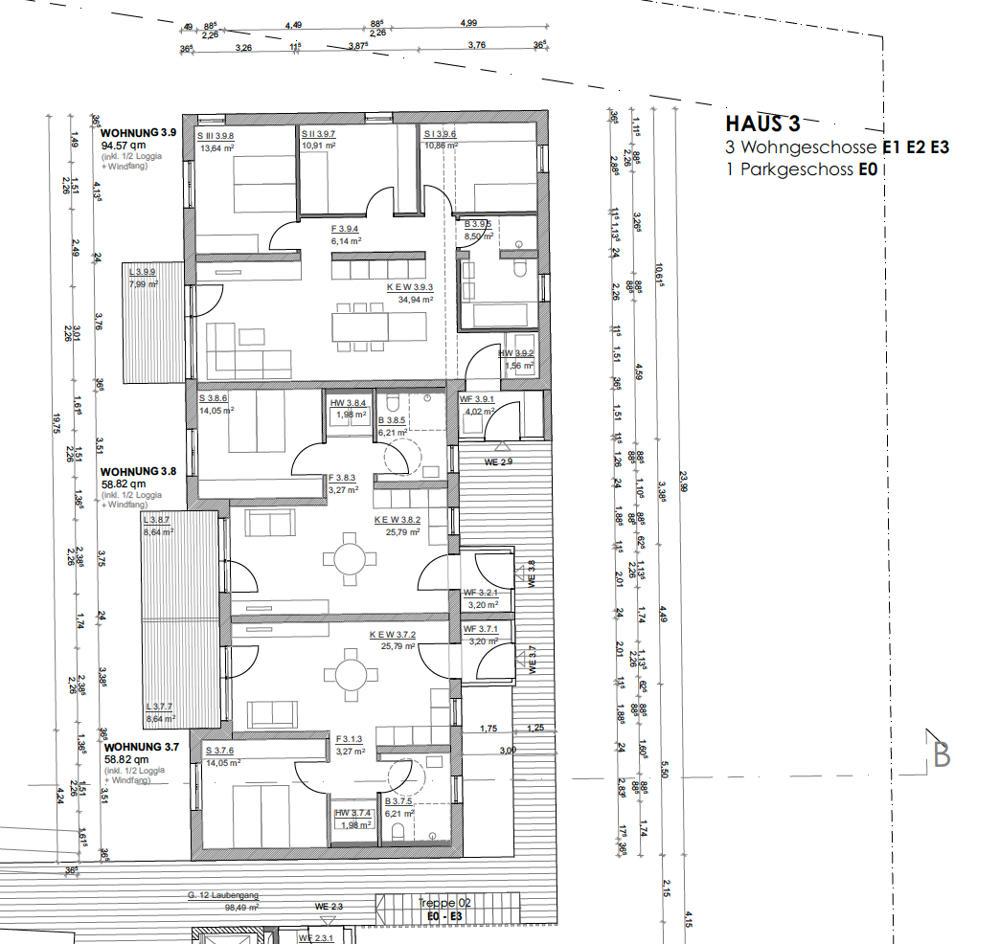 Geschossfläche Haus 3 WE 7-8-9