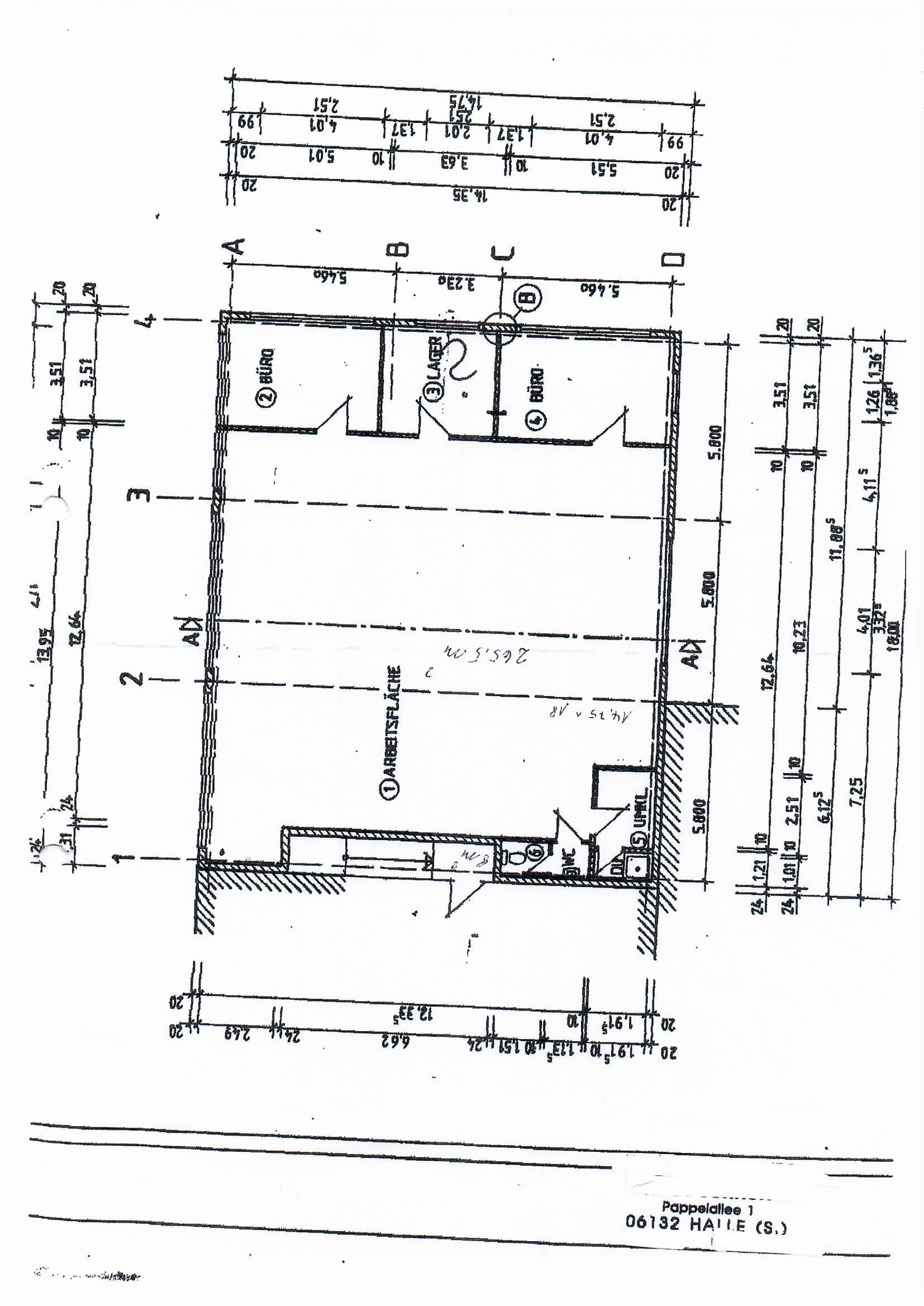 265 Grundriss Halle mit Büro
