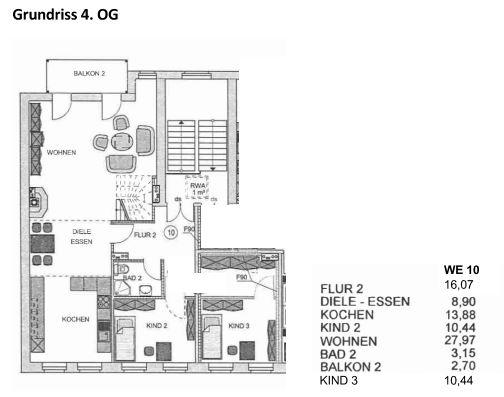 Grundriss 2 große Wohnung