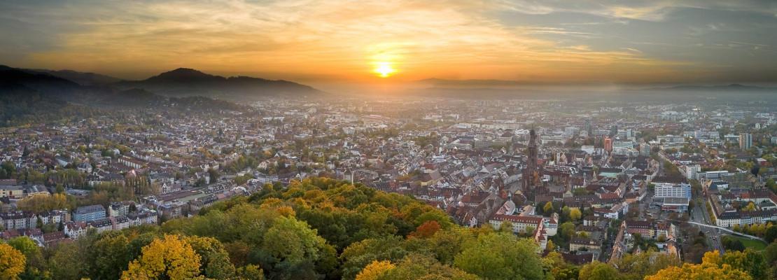Luftaufnahme Sonnenuntergang Freiburg