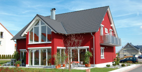 Rotes Einfamilienhaus