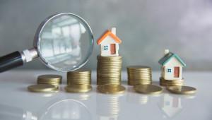 Häuser mit Münzen