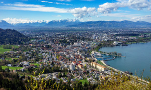 Panorama auf Bregenz und das Alpsteingebirge