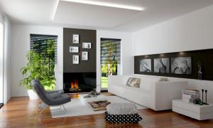 Offener Wohnbereich mit modernen Möbeln