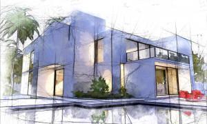 Skizze von einem Haus