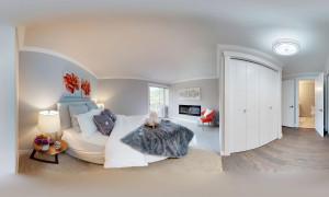 360-Grad-Ansicht eines Schlafzimmers