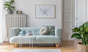 Wohnzimmer mit blauem Sofa