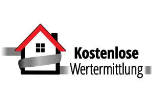 Schriftzug Kostenlose Wertermittlung mit einem animierten Haus