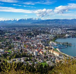 Panorama auf Bregenz Bodensee und Alpsteingebirge