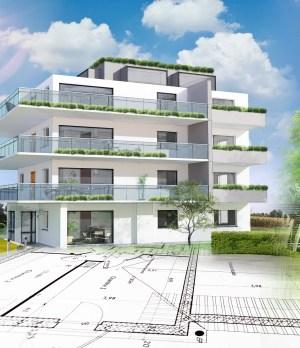 Baupläne mit Häusern