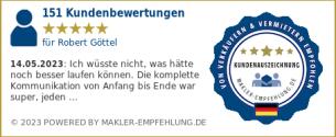 Qualitätssiegel makler-empfehlung.de für Robert Göttel