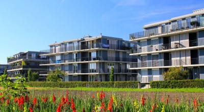 Neubausiedlung von Mehrfamilienhäusern