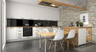 Moderne Küchenzeile mit Essbereich